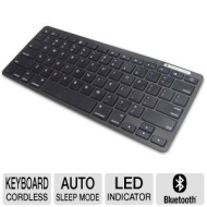 Inland 71102 ProHT Wireless Bluetooth Keyboard - 33ft. Range 78 Keys Automatic Sleep Mode LED New