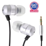 GOgroove audiOHM Ergonomic Metallic Silver Earbuds with Interchangeable Noise-Reduction Silicone Ear Pieces