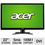 "Acer UM.WG6AA.B01 G226HQL BBD 22"" Class LED Monitor - 1920 x 1080, 100000000:1 Dynamic, 600:1 Native, 5ms, VGA, DVI, Energy Star  UM.WG6AA.B01"