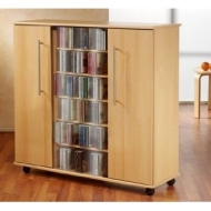 PREMIUM Luxor Rustic Oak Colour Wood Media Storage Tower Shelf Rack Unit Sideboard with Glass & Wooden Doors for CD & DVD [900 CDs or 390 DVDs] VM