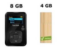 SanDisk 8GB Sansa Clip+ MP3 Player (Recertified) with 4GB Bamboo USB 2.0 Flash Drive