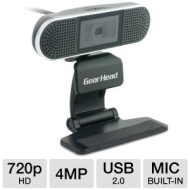 Gear Head 4MP 720p HD Webcam with Stereo Microphones