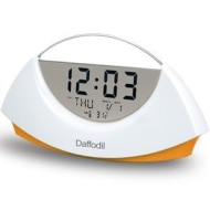 Daffodil AMC530O Stylish LCD Alarm Clock with Calendar and Thermometer - White with Orange Base