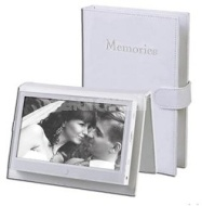 "Audiovox 7"" Portable Digital Photo Frame with Embossed Leather Cover"
