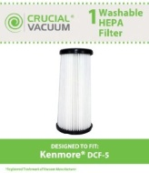 Kenmore DCF-5 Washable Allergen Filtration HEPA Filter; Fits All Kenmore Quick Clean Models including K37000, 3900; Replaces Kenmore DCF5 Part # 61868