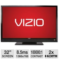 Vizio E321VL 32 Class LCD HDTV - 720p, 1366 x 768, 60Hz, 100000:1, 8 ms, HDMI, USB, Energy Star (Refurbished)