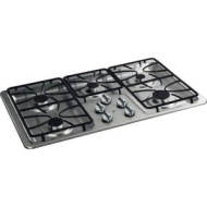 "GE JGP633SETSS 36"""" Gas Cooktop with 5 Sealed Burners, 11,000 BTU Burner, Precise Simmer Burner, Matte Grates and Dishwasher-Safe Knobs: Stainless Ste"