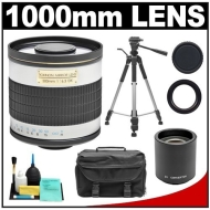 Rokinon 500mm f/8 Telephoto Mirror Lens with 2x Teleconverter (=1000mm) + Monopod Kit for Canon EOS Rebel XSi, XS, XTi, XT, T1i, T2i, 5D, 7D, 40D & 5