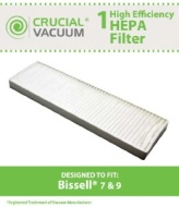 Bissell Style 7, Style 9 HEPA Filter; Compare to Bissell Part#32076; Designed & Engineered by Crucial Vacuum