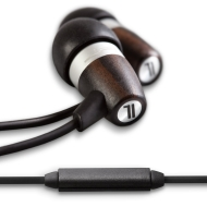 J.Fi.M Acoustic Natural Ebony Wood and Metal Fusion Earphones with Mic (Ebony / Titanium)