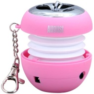 August MS310P MP3 Portable Mini Speaker with LED Flashing Light and Built-In Rechargeable Batteries Compatible with Handsets and Laptops - Pink