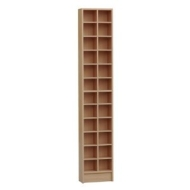 BLOCK - Tall Sleek CD DVD Media Storage Tower Shelves - Oak