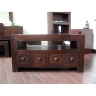 Homescapes - Dakota - TV / DVD 4 Drawer Unit - Dark - 100% Solid Mango Hard Wood - ( No Veneer ) Hand Crafted Furniture