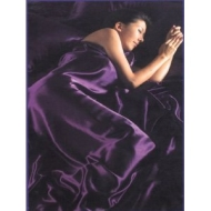 Purple Double 6pc Satin Bedding Set