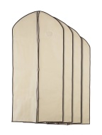 Home Zone - 4 Pack of Breathable Garment Bag Clothes Covers - Coffee & Cream Finish - Medium (90cms * 60cms)
