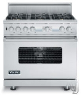 "VGCC5366BSS Viking 36"" Sealed Burner Gas Range with 6 Burners - Natural Gas - Stainless Steel"