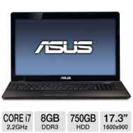 ASUS A73SD-TS72 Notebook PC - Intel Core i7-2670QM 2.2GHz, 8GB DDR3, 750GB HDD, DVDRW, 1GB Nvidia GT610M, 17.3 Display, Windows 7 Home Premium 64-bit,