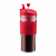 Bodum Insulated Plastic Travel French Press Coffee and Tea Mug, 0.45-Liter, 15-Ounce, Red
