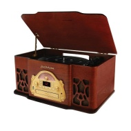 Electrohome EANOS502 - Turntable Real Wood Stereo System with Record Player, USB Recording, MP3, CD & Radio