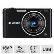 "ST76 16.1 Megapixel Compact Camera - Black (2.7"" LCD - 5x Optical Zoom - Electronic IS - 4608 x 3456 Image - 1280 x 720 Video - PictBridge - HD Movie"