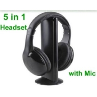 5 in 1 WIRELESS CORDLESS RF HEADPHONES HEADSET WITH MIC EARPHONE MICROPHONE DVD