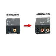 Digital Toslink / SPDIF zu Analog stereo 2xRCA Audio Konverter - Audio Konverter Digital (Toslink und Koaxial) zu Analog (Cinch) - Digital Analog Wand