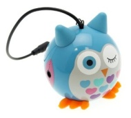 Kitsound Mini Buddy Blue Owl Speaker Compatible with iPod, iPad 2/3/4/Mini, iPhone 3G/3GS/4/4S/5/5S/5C and Android Devices