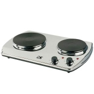 Kalorik DKP-21898 1400-Watt Portable Chrome Double Burner with 2 Cast-Iron Cooking Plates
