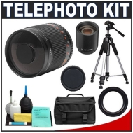 Phoenix 500mm MultiCoated Mirror Lens with 2x Teleconverter (=1000mm) + Deluxe SLR Pro Camera Case + Deluxe Camera Tripod with Carrying Case + 6-Piec