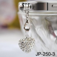 Silver Heart Shape Rhinestone JP-250-Silver Dust Plug / Earphone Jack Accessory / Ear Cap