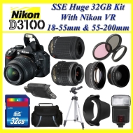 The Nikon D3100 SLR Digital Camera with 18-55mm VR Lens and Just Released Nikon AF-S NIKKOR 55-300mm f/4.5-5.6G ED VR Zoom Lens + Nikon School DVD + H