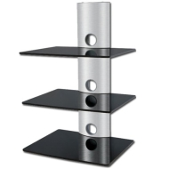 Designer Habitat - 3 x Floating Black Glass Shelves Mount Bracket for DVD/Blu-Ray Player, Satellite/Cable Box, Games Console