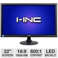 I-Inc IL225DBB 22 Class Widescreen LED Backlit Monitor - 1920 x 1080, 16:9, 600:1 Native, 5ms, DVI, VGA, Energy Star