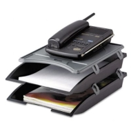 Innovera Telephone Stand w/Stacking Paper Trays, Black/Gray