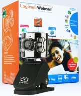 Logicam Webcam - Web Camera boxed and Brand New Black Sleek Webcam, USB Web Cam with Mic Microphone and 6 LEDs for Night Vision - 360 Degree Camera Ro