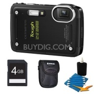 Olympus Tough TG-620 iHS 12MP Waterproof Shockproof Freezeproof Digital Camera Kit-Black
