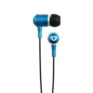 Hip Street HipBudz Antimicrobial Noise Isolating Stereo EarBuds With In-Line Volume Control (Blue)