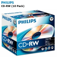 Philips CD-RW Recordable/Rewritable Discs (10 Pack) 700MB Data 4-12 x Speed - 80 Min Audio - Suitable For Both Data And Audio Storage