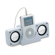 Micropix - White Portable Folding Speakers for iPhone, iPod, iPad, Mac, iMac, Ipod Video, Touch, Classic, Nano (All Generations), Mini, Shuffle, CD Pl