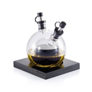 Glass Globe Oil and Vinegar set on base