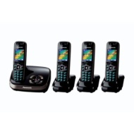 Panasonic KX-TG8524EB DECT Quad Digital Cordless Phone Set with Answer Machine - Black