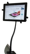 The New iPad 1 2 3 HOLDS with Apple Case Samsung Galaxy Tab Sony S Tablet Kindle Clamp Desktop Handsfree Stand (Black)