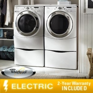 "Whirlpool Duet 9750 Steam Electric Laundry Suite 3.9 CuFt Washer 7.5 CuFt Dryer 13"" Pedestals"