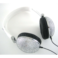Silver Crystal Rhinestone DJ Over-Ear Headphones