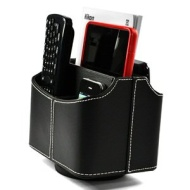 COSMOS PU Leather 360 Degrees Rotatable Remote control/controller TV Guide/mail/CD organizer/caddy/holder,Free Cosmos Cable Tie-Black
