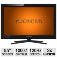 Proscan PLED5529A 55 Class Slim LED HDTV - 1080p 1920 x 1080 16:9 120Hz 1000:1 5 ms HDMI USB New