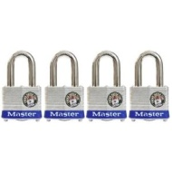 "Master Lock Padlock. 1-9/16"" Laminated Steel Body Padlock w/ 1-1/8"" Shackle (4 pack) 3QLDHCHD"