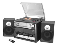 Pyle Home PTTCSM60 Turntable Boombox With CD/MP3/Radio/Cassette/USB and Vinyl-to-MP3 Encoding