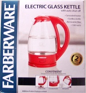 Farberware Electric Glass Kettle(Red)