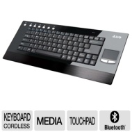 Azio KB336RP Wireless Keyboard - with Built-in Multi-Touch Trackpad, USB 2.0, 2.4 GHz, Multimedia Keys, Black